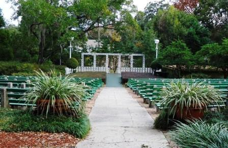 Brides are opting for more rustic venues for their weddings, like the Mead Gardens Amphitheater in Winter Park, FL