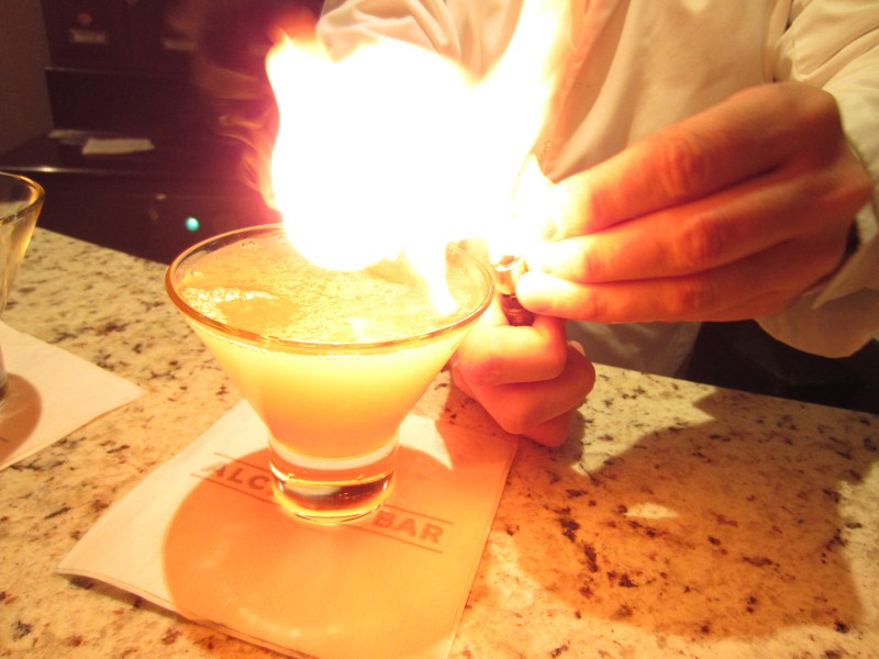 A flaming drink at the Alchemy Bar, my new favorite bar