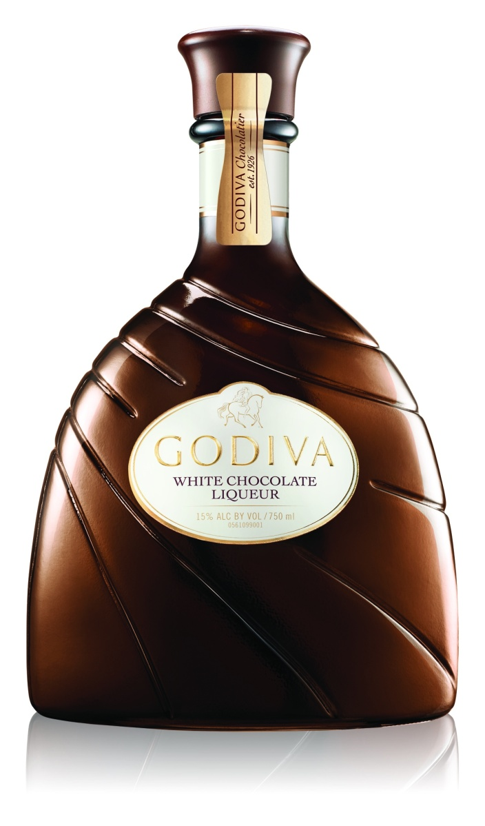 Even the bottles of Godiva Liqueurs are beautiful