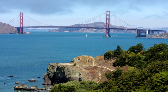 The view of the Golden Gate Bridge from Lands End trail on the northwestern corner of San Francisco