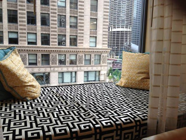 My delightful window seat at Hotel Monaco in Chicago, with a magnificent view of the river