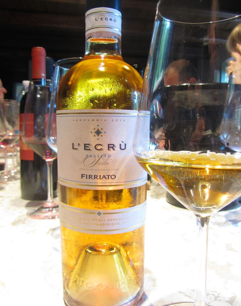 Golden L'Ecru passito, bottled on the slopes of Mount Etna.