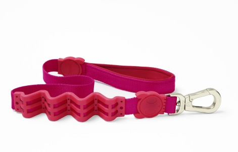 As the owner of a 95-pound dog, Riley, who has been known to sprint for squirrels, I appreciate the shock absorbing power and the soft grip of inner handle of the Ruff Leashes. The leashes come in a variety of colors and Riley doesn't even seem to mind the bright pink one we have. $30 on Amazon.com